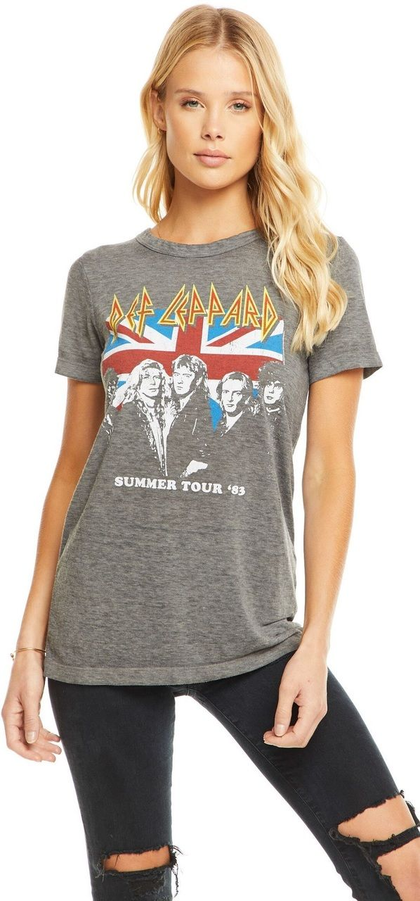 Def Leppard Women's Concert T-shirt by Chaser – Summer Tour 1983 | Gray Vintage Fashion Shirt