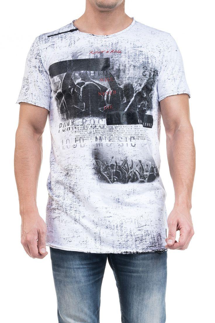 T-shirt 1st level comprida tingida com gráfico e fechos   115873 Branco    Salsa
