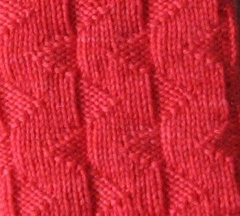 Its a simple 8 stitch knit purl pattern with a knit 7 purl 1 ribbing base. Easy to memorize and interesting to look at.