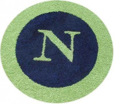 cute monogrammed rug in navy & lime green