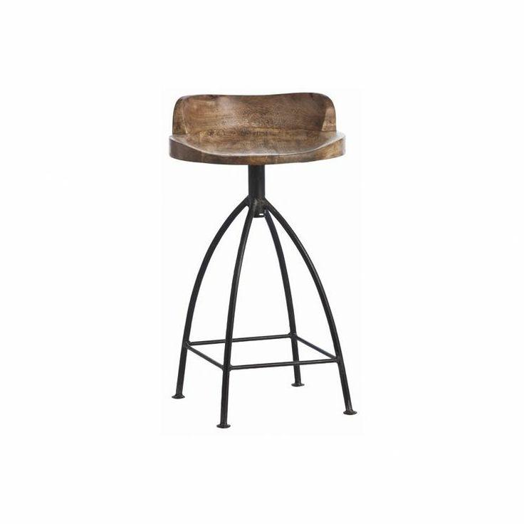 Henson Wood Iron Swivel Counter Stool