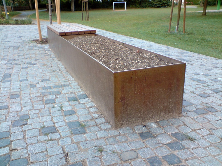 Corten Steel And Wood Combination Planter And Bench