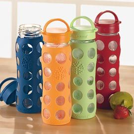 I love these! Silicone-Sleeve Glass Water Bottle Durable glass leaves your water tasting pure and fresh.