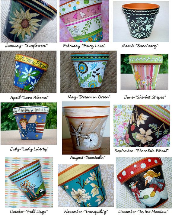 Pot of the Month Club- Hand Painted Terracotta Pots 6 Inch