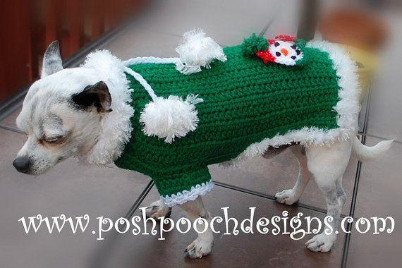 Christmas Dog Sweater  Pom Pom Dog Sweater by poshpoochdesigns, $20.99