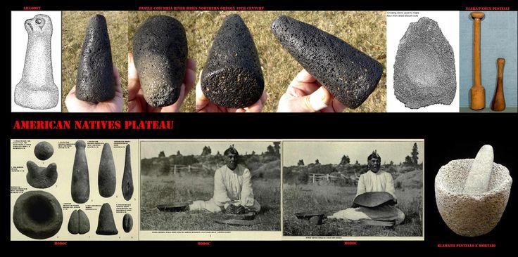 Semi e radici venivano ridotti in farina usando, a seconda delle etnie, pestelli e mortai di pietra o di legno. Tra i Lutuamian (Klamath e Modoc), I semi del giglio d'acqua chiamati 'wocas', oggetto di un'intensa raccolta, venivano macinati in mortai di pietra.