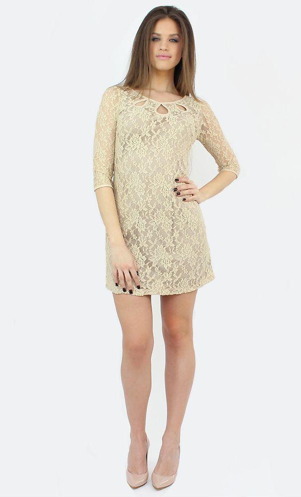 Long-Sleeve Beige Dress for a refined formal wardrobe..:)  #famevogue #lace #dress #shopping #fashion