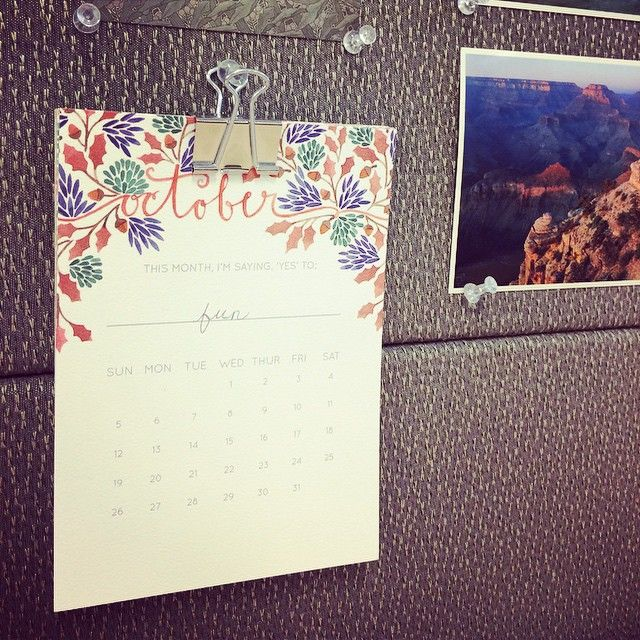 """My eyecatching """"Year of Yesses"""" calendar by Frameworthy Designs. @tjforth Thank you for adding beautiful inspiration to my desk at work! #frameworthydesigns #calendar #artwork #watercolor #motif #october #fall #workspace #desk #mydesk #work #mydesk #cubicle #decorative #flowers"""