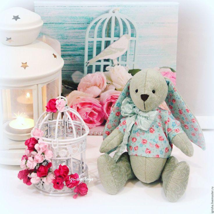 Купить Мятный зайчонок. Подарок новорожденному - мятный, интерьерный заяц, интерьерная игрушка, подарок новорожденному