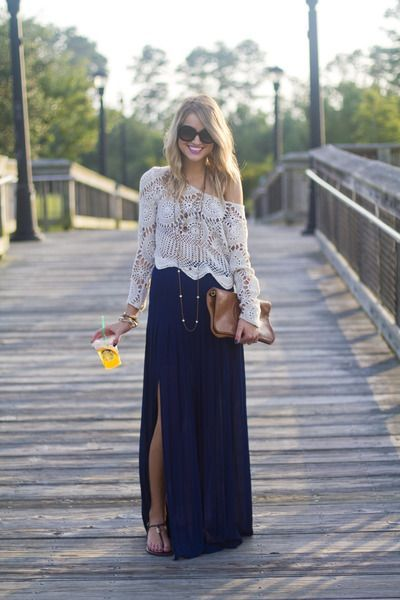 I really like the idea of the maxi skirt or dress under the lace/crochet top it's a fall version of a summer staple