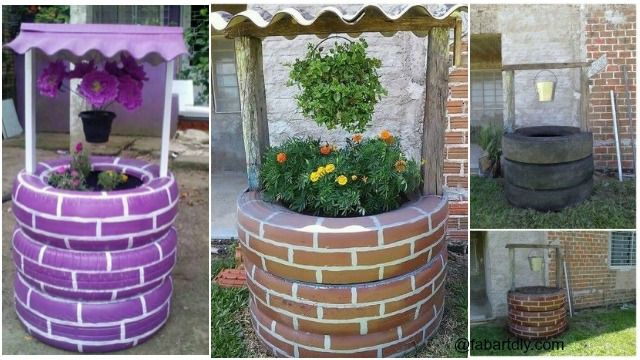 Recycle old tires into an adorable wishing well planter!Paint the tires with exterior quality spray paint (use a base coat of whatever color you prefer, then add white lines to make the illusion of bricks.) Cut a Square hole into the tires in a vertical line.These are going to be where you insert your wishing …