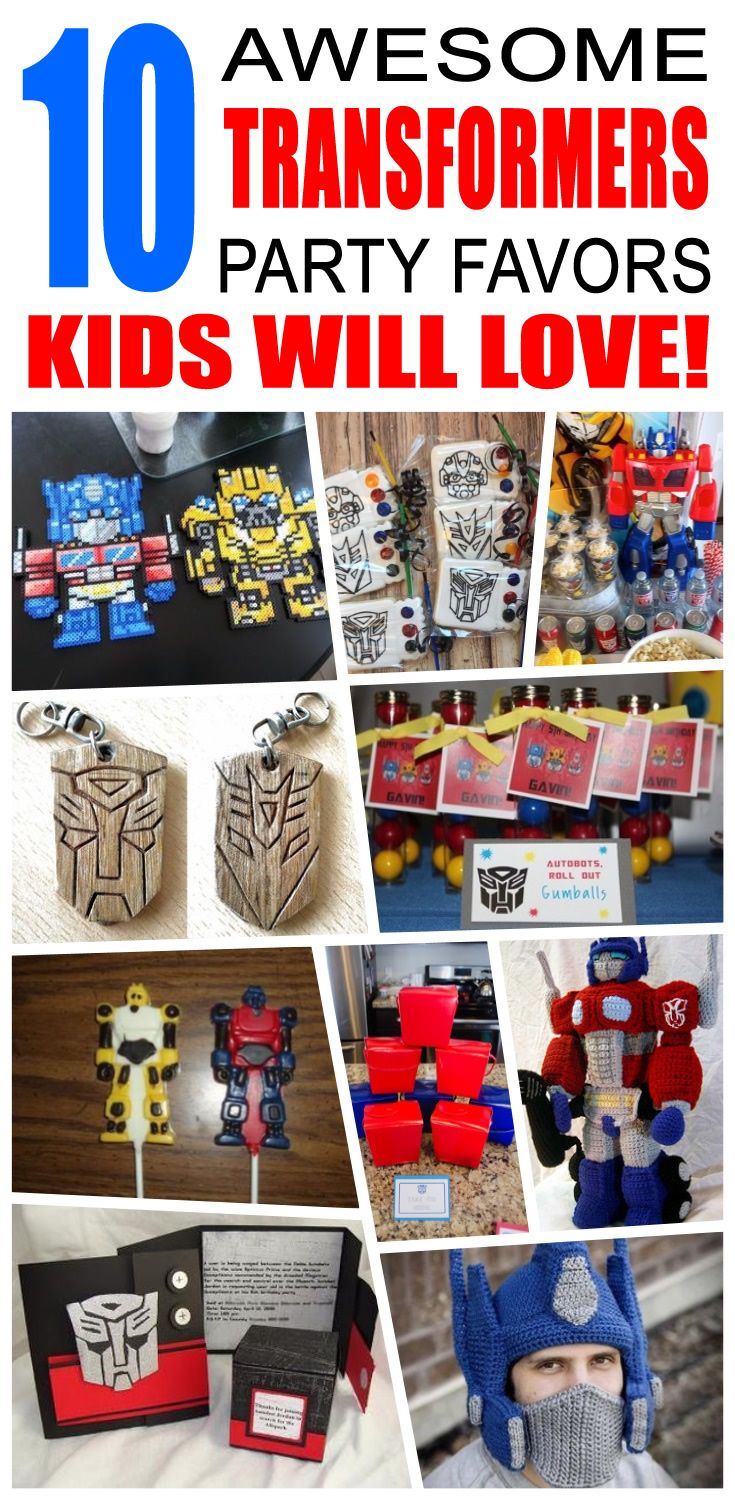 Great transformers party favors kids will love. Fun and cool transformers birthday party favor ideas for children. Easy goody bags, treat bags, gifts and more for boys and girls. Get the best transformers birthday party favors any child would love to take home. Loot bags, loot boxes, goodie bags, candy and more for transformers party celebrations.