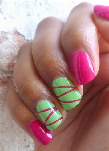 Best 25 lime green nails ideas on pinterest pretty nails green pink and strip mani by pinezoe nail art gallery nailartgalleryilsmag prinsesfo Choice Image