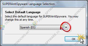 """El programa ya se ha instalado pero faltan algunas cosillas por hacer como elegir el idioma que queremos. En este caso el español, """"Spanish (ES)"""". Clic en """"OK"""""""