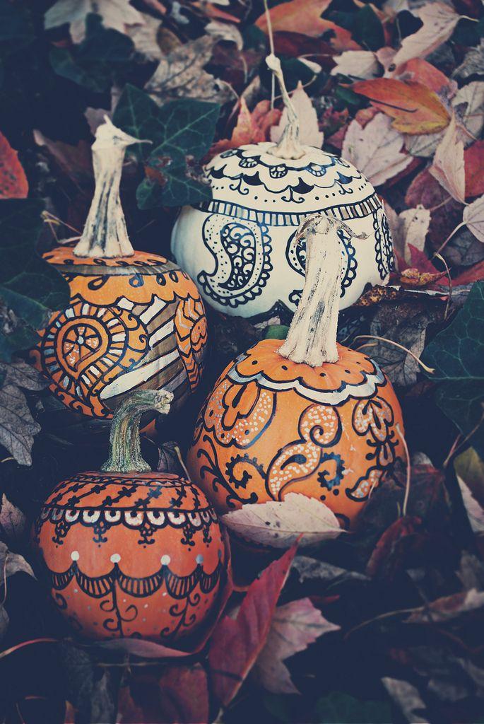 paisley sharpie pumpkins