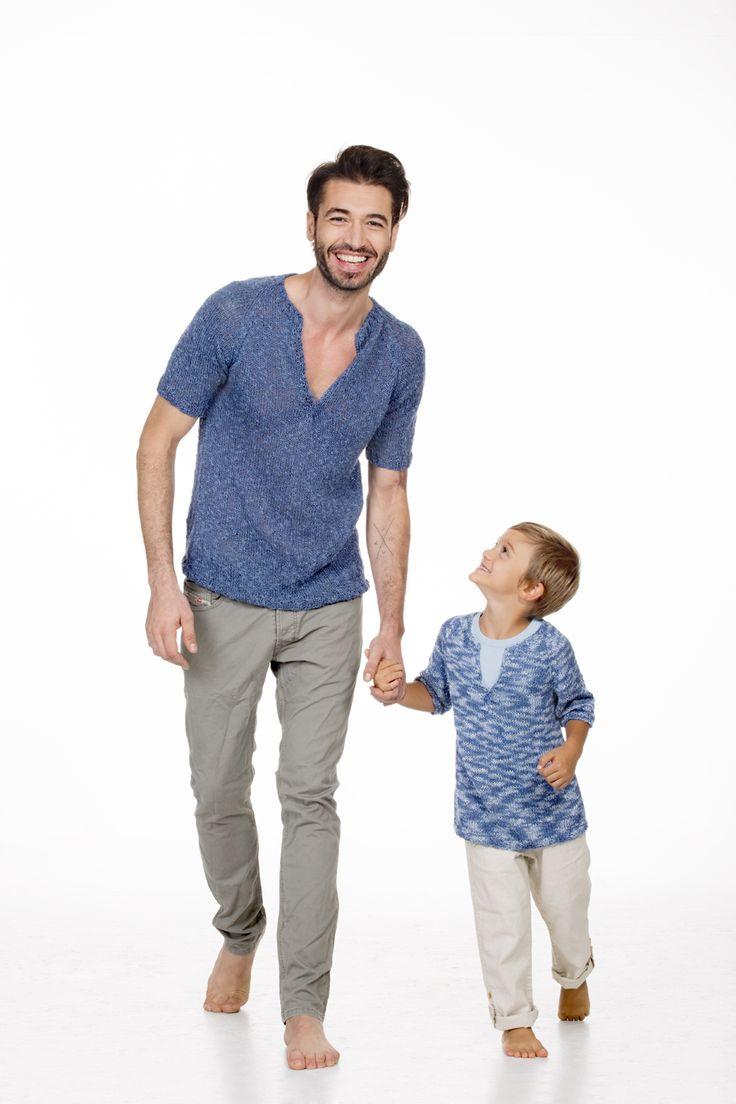 Dad and son #mondial #spring #summer #specialmagazine #dad and #son #filatimondial #lanemondial #yarns #cotton 2016 / visita il nostro sito http://www.lanemondial.it/home/it/ per vedere l'anteprima della rivista!