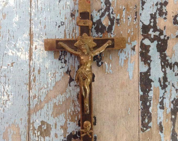 Antique Skull & Cross Bones Crucifix, Crucifix, Antique Cross, Antique Crucifix, Quebec Religious, Antique Religious, Catholic Religious,