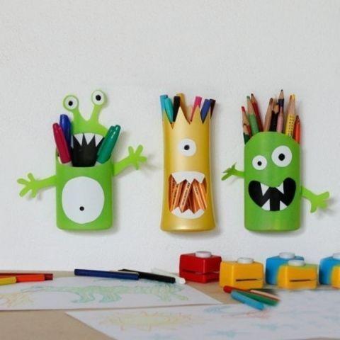 Делаем монстриков для хранения карандашей из флакона от шампуня - Поделки с детьми   Деткиподелки