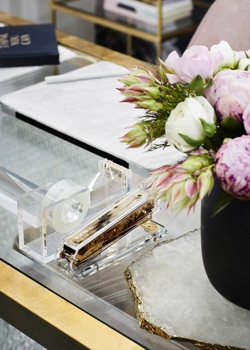 A detail of the girl boss home office space.  Styled by Leeder Interiors.