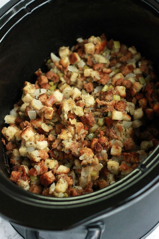 Slow Cooker Stuffing - Save time and oven space with this slow cooker stuffing recipe!