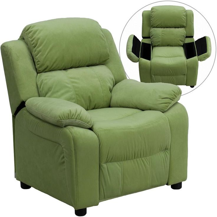 Deluxe Heavily Padded Contemporary Avocado Microfiber Kids Recliner with Storage Arms by Flash Furniture  sc 1 st  Pinterest & 41 best Kids Recliners images on Pinterest | Home furniture Kid ... islam-shia.org