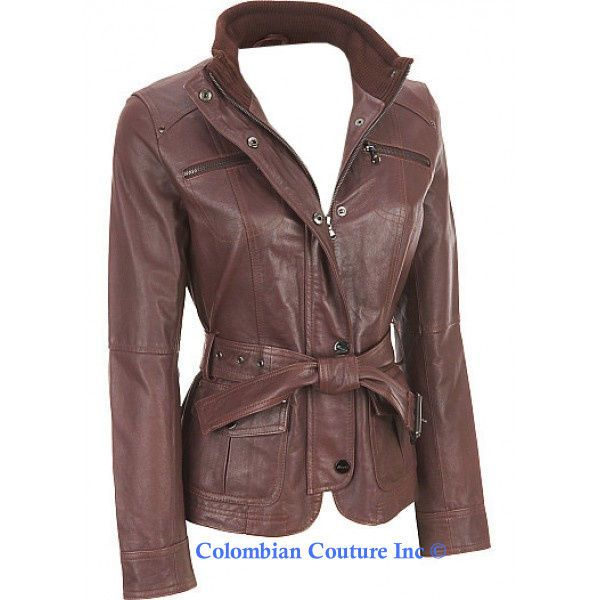 NWT Authentic Ladies Brown Leather Jacket Size XS-3XL #ColombianCouture #LeatherJacket