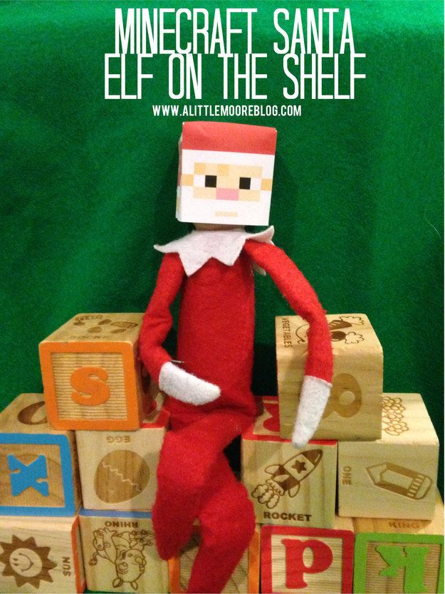 A Minecraft Santa head.   18 Printables To Seriously Up Your Elf On The Shelf Game