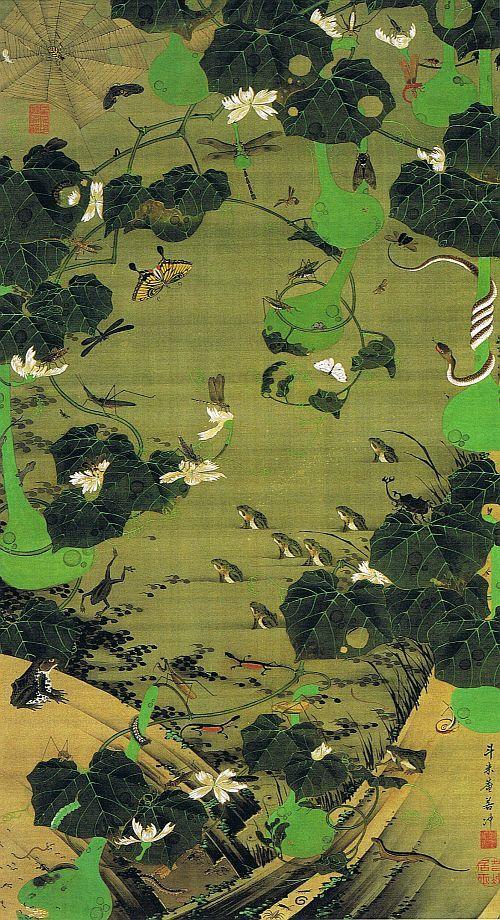 """動植綵絵 第二期( 1761-1765 ), 23. 池辺群虫図(池辺群蟲図)[ちへん ぐんちゅう ず] , """"Pictures of the Colorful Realm of Living Beings"""", Jakuchu Ito"""