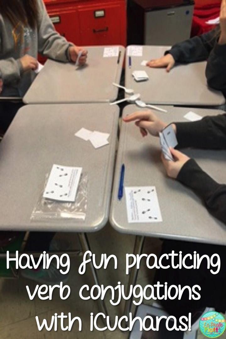 The classic Spoons game with a Spanish class twist! Instead of collecting cards of the same number (3s, jacks, aces, etc.), students race to collect all seven cards for a single verb (infinitive + all six conjugated forms). Super fun way to reinforce verb