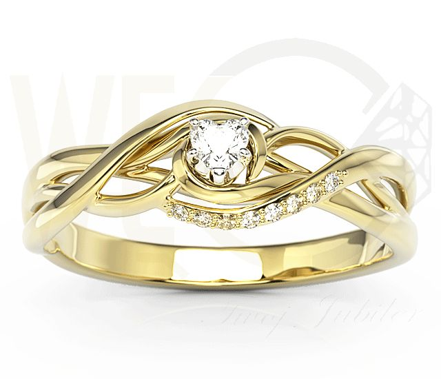 Pierścionek z żółtego złota z cyrkoniami./ 786 PLN/  Yellow gold ring with zircons.   #yellowgold #zircons #shopping