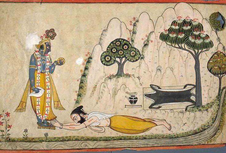 Holy Man Prostrated before Krishna/Vishnu.  Location: Basohli, Kathua District, Jammu and Kashmir, India. Date: ca 1675-1699 CE