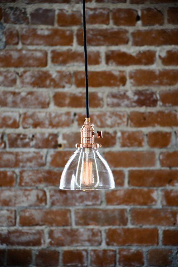 Industrial Pendant Light Copper Glass Bell by IlluminateVintage