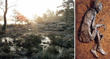 Homem de Tollund - Pântano de turfa conhecido por Bjaeldskov, localizado a 6 km da pequena cidade de Silkeborg, península de Jutlândia, Dinamarca.