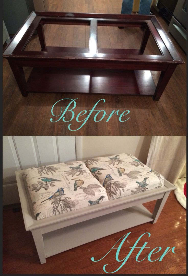 Broken Glass Coffee Table To Upholstered Ottoman And Chalk Paint