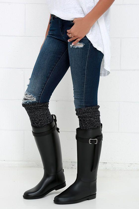 Dirty Laundry Riff Raff Black Rain Boots at Lulus.com!
