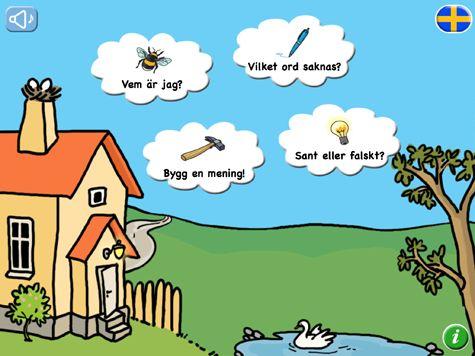 Läslandet 2 består av 4 övningar som övar förmågan att känna igen ord och meningar i sitt rätta sammanhang. Här tränas både läsförståelse och grammatik. Du får hela tiden stöd av inspelat tal. Med appen följer en även engelsk och finsk version. Det finns 1150 meningar att träna på!