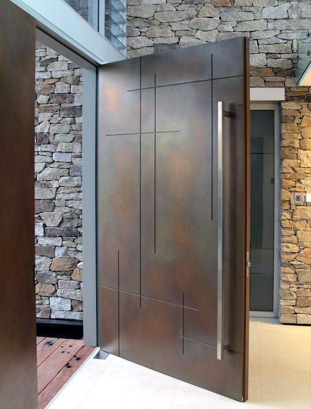 Entry Door | Axolotl Treasury Bronze Lunar Pearl Metal Coating Applied To  Door With Custom Routed