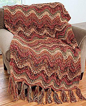 FREE knitting pattern for ripple luxury throw