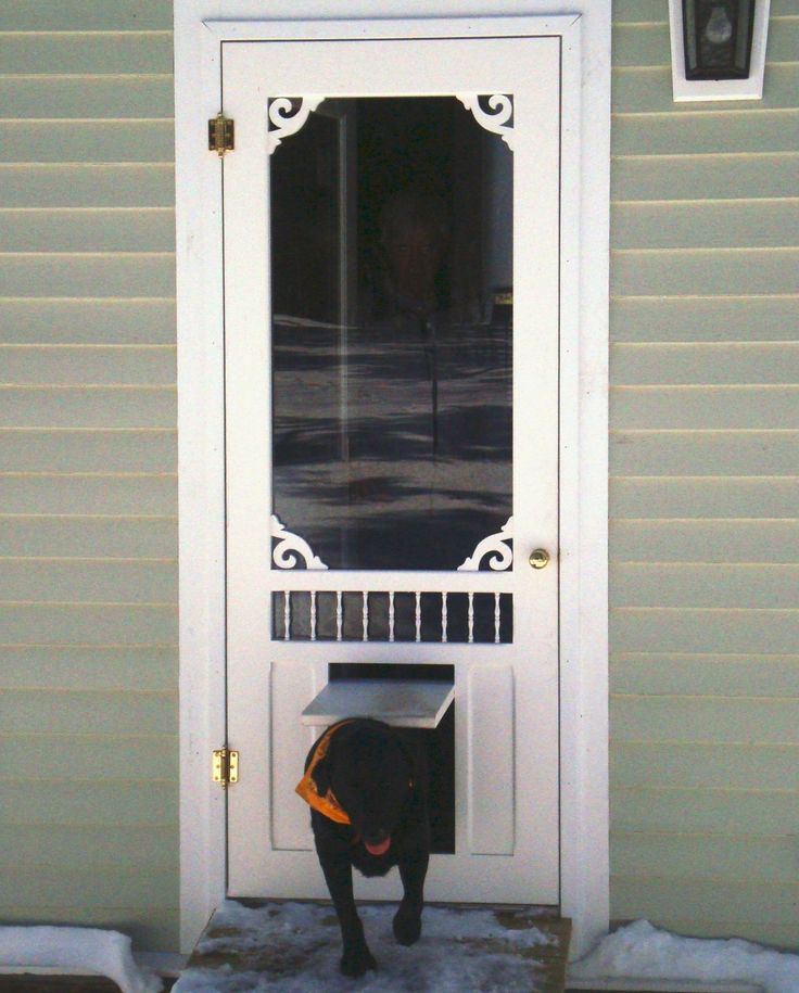 Pet door wisteria screen storm door with p3 pet door for Entry door with built in screen