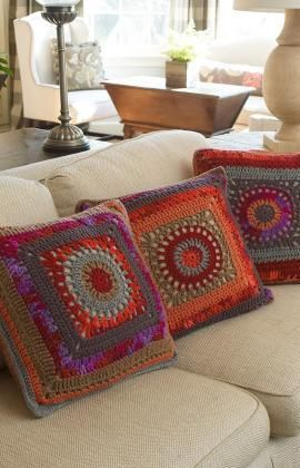 Circle in the Square Pillows Free Crochet Pattern from Red Heart Yarns