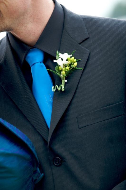 Suitably Suited : wedding black suit blue tie grrom attire