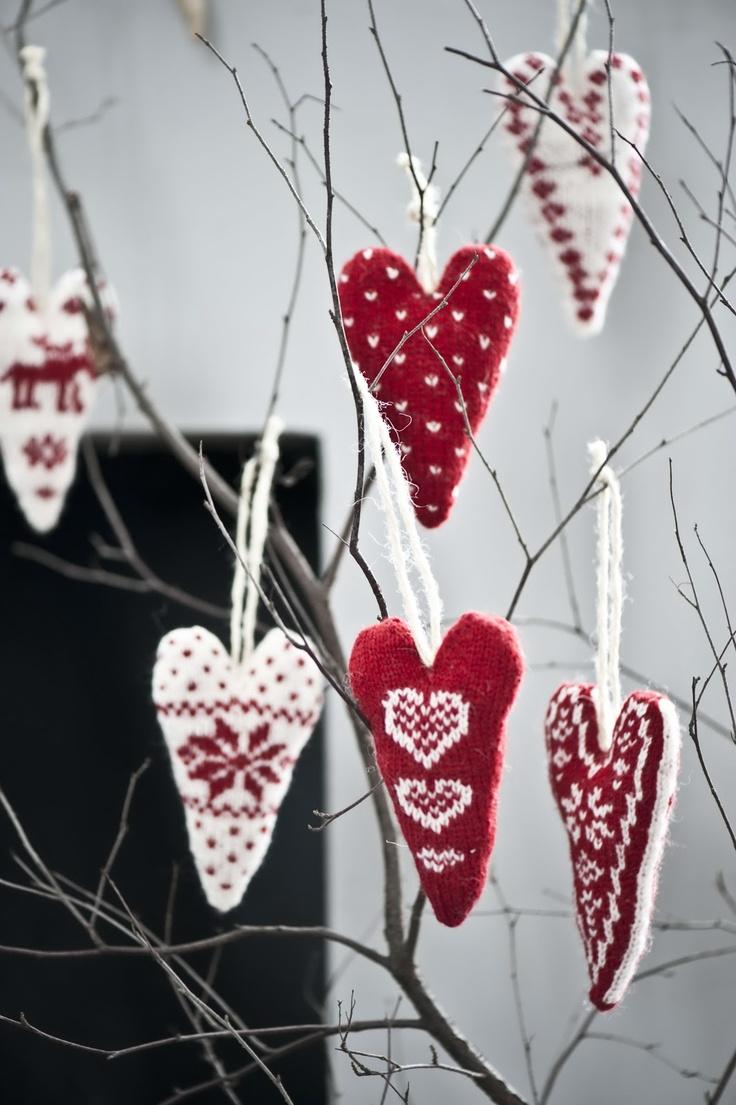 wool heart ornaments <3