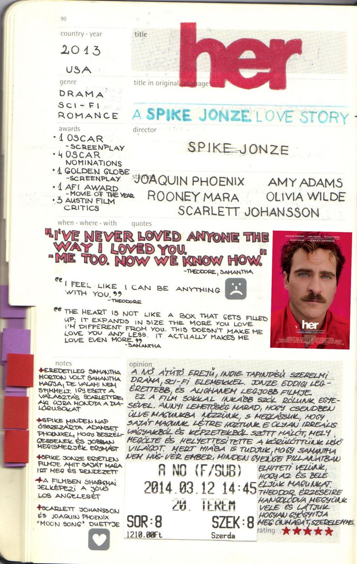 LIV'S MOLESKINE FILM JOURNAL