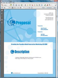 CD-ROM Development Proposal - The CD-ROM Sample is an example of the use of the Proposal Kit documents for proposing a presentation on a CD-ROM. Create your own custom proposal using the full version of this completed sample as a guide with any Proposal Pack. Hundreds of visual designs to pick from or brand with your own logo and colors. Available only from ProposalKit.com (come over, see this sample and Like our Facebook page to get a 20% discount)