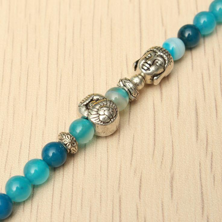 Natural Agate Crystal Vintage multi-layer Blue Tourmaline Buddha Head Bracelets