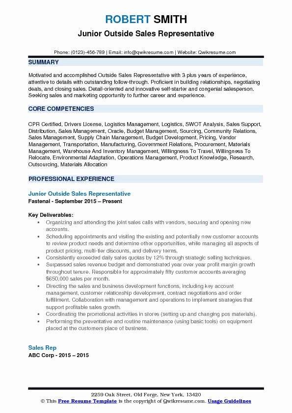 Elegant Outside Sales Representative Resume Samples In 2020 Sales Resume Examples Resume Examples Job Description