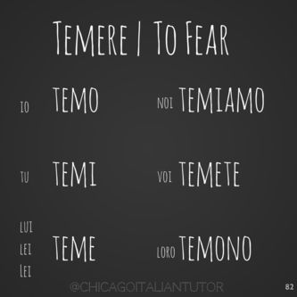 #italian #verbs #temere #chicagoitaliantutor 100 Days of Verbs