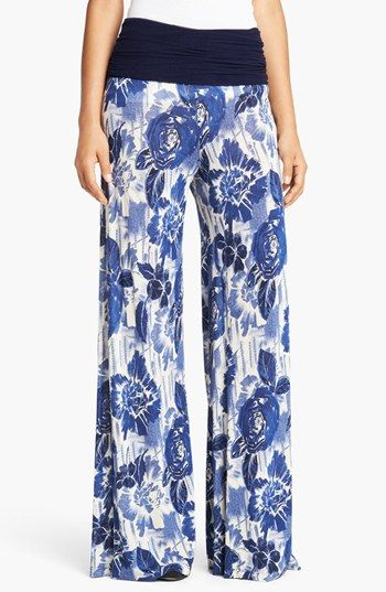 Jean Paul Gaultier Rose Print Jersey Palazzo Pants | Nordstrom: Charms Blue, Palazzo Pants, Blue Color, Blue Jeans, Bottoms Jeans, Fuzzy Rose, Blue Bloom, Blue White, Gaultier Rose