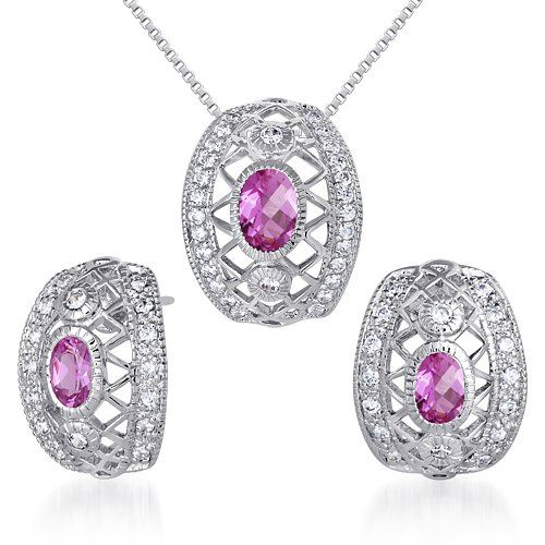 Created Pink Sapphire Pendant Earrings Set Sterling Silver Rhodium Nickel Finish Oval Shape 200 Carats >>> Click on the image for additional details.