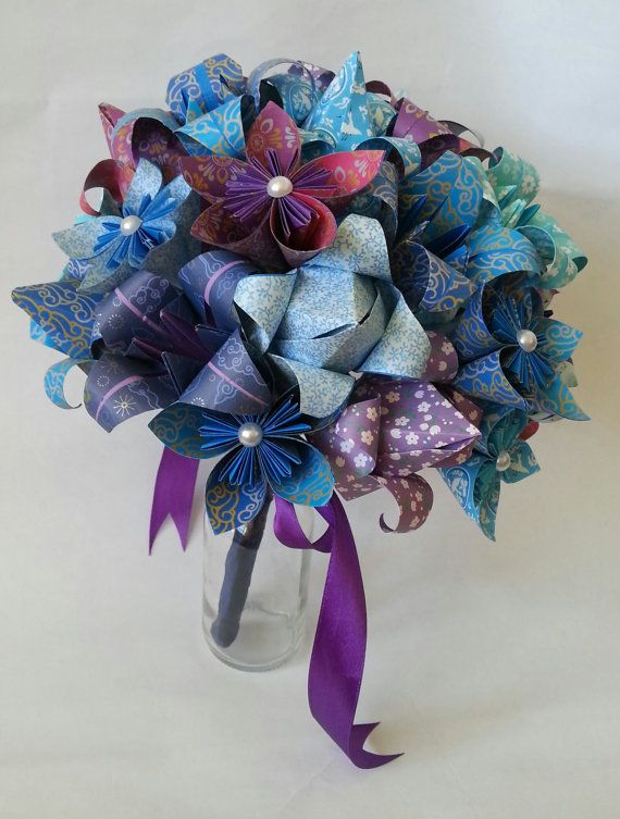 Paper Flower Origami Wedding Bouquet Beach Ocean Theme Lilies Tulips Daisies Blue Lilac Cadbury